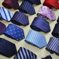 Mens laços Nova marca Homem Moda Dot Striped Gravatas Hombre 8 Cm Gravata Gravata Business Clássico Laço Verde Casual Para Homens 111 U2