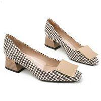 فحص منقوشة وأشار تو مكتب المهنة النساء مضخات الأسود الإناث الأزياء مكتنزة عالية الكعب أحذية أنيقة السيدات ملابس رسمية 210610 S99M