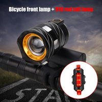 Bike Lights Light Set Waterproof T6 LED Bicycle Headlight 3 Modes Zoom Lighting With USB Rechargeable Built-in Battery