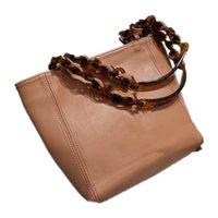 women shoulder bags 2021 autumn Fashion Tote bag High-quality soild Leather shopping-Bags Famous Luxury Designers Tortoiseshell enamel splicing chain size:20*11cm