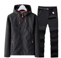 Outdoor Jackets&Hoodies Soft Shell Jacket + Pants Men's Ski Suit Hiking Raincoat Fleece Thermal Softshell Parka Waterproof Mountaineering