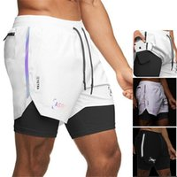 Shorts Asrv Mens Double Deck Running Sport Reflective Striped Shorts Gym Fitness Workout Bermuda Bodybuilding Quick Dry Man Short Pants