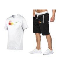 2шт набор мужчин наряды 100% хлопчатобумажная футболка шорты летний короткий комплект трексуита мужчин спортивный костюм бег трусцой потефютный баскетбол джерси горячая распродажа
