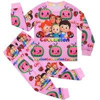 Дети девушки 2 шт. Мультфильм пижама рождественские Halloween ночная одежда Cocomelon Pajamas детское малыш с длинным рукавом блузка топы брюки брюки нарядные одежды outseftespjs g8505zp