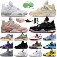 مع مربع OFF White Nike Air Jordan 4 Retro 4 4s Jumpman Stock x أحذية كرة السلة للرجال والنساء اتحاد كريم شراع الجوافة احذية المتدربين الرياضية mae murabae