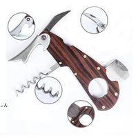 Stainless Steel Cigar Scissors With Wood Pocket Cigar Cutter With Bottle opener Multi Function Cigarette Knife Tools RRD11167