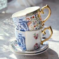 أكواب الأوروبية الذهب اللوحة الرجعية الكأس الفاخرة والصحن شخصية مضحك القهوة مجموعة بعد الظهر الأبيض السيراميك الشاي tiki
