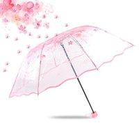Umbrellas 30pcs lot Transparent Clear Umbrella Cherry Blossom Mushroom Apollo Sakura 3 Fold For Women Lady Girls Wholesale