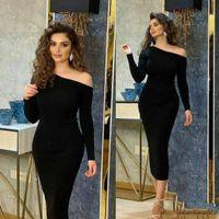 Short Bodycon Stretchy Evening Dresses Long Sleeve Zipper Back Tea Length Black Abendkleider Robes de Soiree Prom Gowns