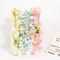 Guirnaldas de flores decorativas 1pc Artificial Hydrangea Wisteria Flower Lilac para la simulación Arco de boda Rattan Wall Colgando Decoración de fiesta