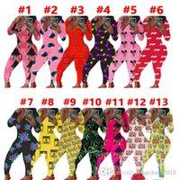 Women Jumpsuits Rompers Designer Pajama Nightwear Bodysuit Workout Skinny Hot Print V-neck Long Sleeve Leggings Ladies Home Pajamas Rompers