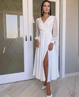 Casual Beach Wedding Dresses Short Bridal Gowns Chiffon Lobg Sleeve A Line High Split Pleats Bohemian Vestido De Noiva Custom Size Tea Length Elegant