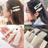 Hair Accessories Acetate Handmade Pearls Clips Pin Women Fashion Geometric Flower Barrettes Headwear Girls Sweet Hairpins