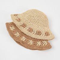 Wide Brim Hats Fashion Womens 2021 Straw Visor Flower Crochet Hat Outdoor Foldable Vacation Gardening Beach Sun Cap Accesorises