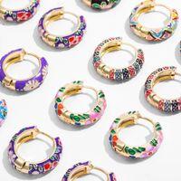 Stud Earrings New Trendy Flower Enamel Hoop for Women Boho Statement Round Circle womens Huggie Earring Fashion Jewelry Brincos