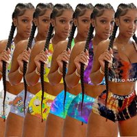 Diseñador Rainbow Tracksuits Pantalones cortos de verano Trajes Mujeres Twee Piece Shorts Set Tie Dye Impreso Sexy Sling Sling Sports Traje 2021