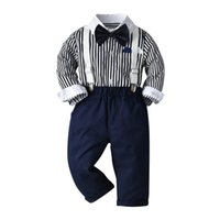 Boys Clothing Sets Boy Suits Child Children Clothes Kids Wear Spring Autumn Cotton Long Sleeve Striped Shirts Suspenders Pants Gentleman Outfits B7290