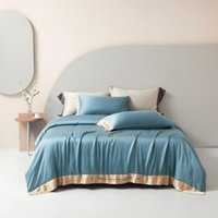 Bedding Sets Four-piece Simple 100% Tencel Lyocell Fiber Bed Sheet Quilt Cover Embroidered Twill Comfortable Lake Blue Color