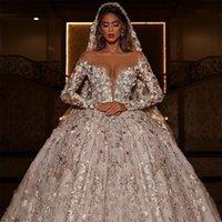 Dubai Luxury Wedding Dress Lace Embroidery Chapel Train Arabic Long Sleeve Bridal Gowns with Veil Exquisite vestido de novia