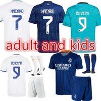 21 22 Chemises de football de football Real Madrid Jerseys Alaba Hazard Benzema Asensio Motric Marcelo Camiseta Hommes + Kids Kit 2021 2022 Uniformes Quatrième