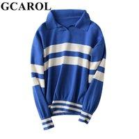 GCAROL Autumn Winter Turn-down Collar Stripes Jumper 30% Wool Handsome Warm Short Knitted Jersey Skin-friendly Soft Polo Sweater 210918