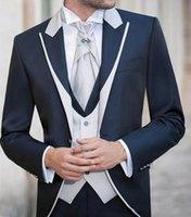Handsome Groomsmen One Button Groom Tuxedos Peak Lapel Men Suits Wedding Prom Dinner Man Blazer (Jacket+Pants+Tie+Vest) w560
