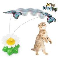 고양이 장난감 재미 있은 애완 동물 고양이 장난감 전기 나비 꽃 주위를 비행하는 전기 나비 매력적인 회전 조류 티저
