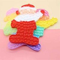 20 pçs / dhl gigante 31 cm Papai Noel em forma de push push fidget sensory brinquedos grandes jumbo arco-íris dedo bolhas popper enigma 2021 natal presentes decoração de festa g768mcv