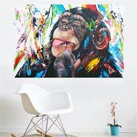 Abstrakte Handschrift Leinwand Druck Gedruckt OrangUtan Tier Wandkunst Bilder Moderne Schlafzimmer Kinderzimmer Dekoration Leinwanddrucke 702