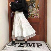 Long Tulle Midi Skirts Autumn Elastic High Waist Mesh Tutu Pleated Female Black White Skirt Streetwear 210623