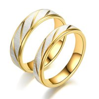 Stainless Steel Gold line ring band finger Couple rings for women men fashion jewelry