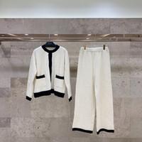 디자이너 여성 Clothing2021ss 색상 대비 연령 감소 다목적 얇은 뜨개질 홈 정장 잠옷 소녀