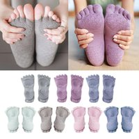 1 par mujeres calcetines de yoga calcetines medio dedo dedo aptitud antideslizante gimnasio deporte calcetines 5 dedos dedos sin desperdicio yoga Pilates Home Gym Ejercicio