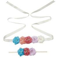 Nova fita de seda fita cintos menina mulher sash cintos com crianças chiffon flor headband moda casamento decorações acessórios