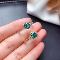 Cluster Rings MeiBaPJ 1 Green Moissanite Diamond Simple Flower Ring For Women 925 Sterling Silver Fine Wedding Jewelry