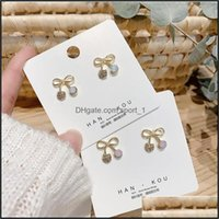 Charm Jewelry Japanese And Korean Small Metal Bow Lovely Girl Heart Pearl Earrings Temperament Aessories Wholesale Drop Delivery 2021 Rwkst