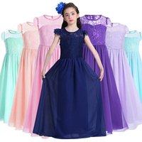 Girls Dresses Princess Kids Clothes Children Clothing Summer Lace Long Party Dress Beach Formal Cotton Child Wear B7259