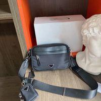 남자 디자인 트리플 블랙 나일론과 가죽 벨트 가방 패션 허리 가방 망 덮개 폐쇄 코인 카드 지갑 푸니 팩