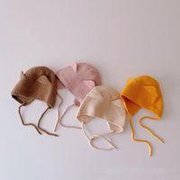 Caps & Hats Born Girl Boy Bonnet Solid Color Ear Crochet Baby Knitting Autumn Winter Warm Strap Toddler Beanies Protection Cap