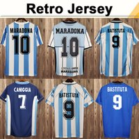 1978 Argentina Kempes Mens Soccer Jerseys 1986 National seleção Retro Maradona 1998 Batistuta Zanetti 2006 Messi Riquelme Casa Camisas