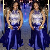 Navy Blue Plus Size Evening Dresses With Appliques Long Prom Gowns For Black Girls 2021 Formal Wear