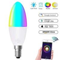 Bulbos 1-8 pieza E14 B22 TUYA SMART LIFE WIFI RGB 6W LED Lámpara Bombilla Dimmer Luz multicolora Alexa Control de voz en casa