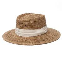 Breite Krempe Hüte Gemlaub 2021 Mode Outdoor Frühling Sommer Ring Top Hut Sonnenschutz Strand Flacher Strohhalm