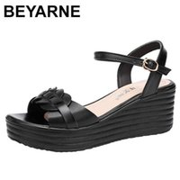 Beyarne Small Plus Size 32-43genuine Leder Sandalen Flache Plattform Schuhe Sommer Strick Casual High Heels Keile Frau 210712