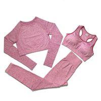 Fashion Designer Womens Cotton Yoga Suit Gymshark sportswear Tinesuits Fitness Sport Tre pezzi Set 3 Pantaloni Bra T Shirt Leggings Autbiti con borse opp Pacchetto