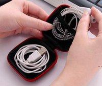 Étui de casque Casque PU Écouteurs en cuir Poche Pouch Mini Zipper Boîte Écouteur Boîte Protecteur USB Câble Organiseur Fidget Spinner Sacs de rangement 5 couleurs HWF5353