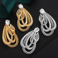 Dangle & Chandelier 2021 Luxury Noble Big Twined Earrings Full Mirco Paved Cubic Zircon CZ Naija Wedding Earring Fashion Jewelry Trendy