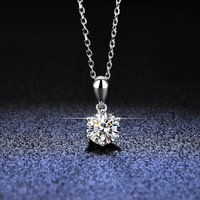 Fashion Simple Jewelry 925 Sterling Silver Round Cut 5A Cubic Zirconia CZ Party clavicle Chain Diamond Women Cute Love necklace Gift