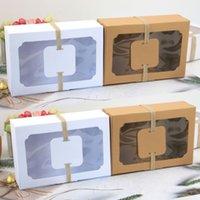 12 unids Kraft Papel Candy Candy Favor Favor Regalo Caja PVC Clear Ventana Galletas Trata Cajas Navidad Año Nuevo Boda Decoración de la fiesta