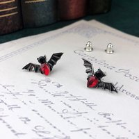 yutong VamGoth Bat Stud Earrings For Women Men Punk Red Crystal Gift Ancient Silver Color Party Wholesale Jewelry